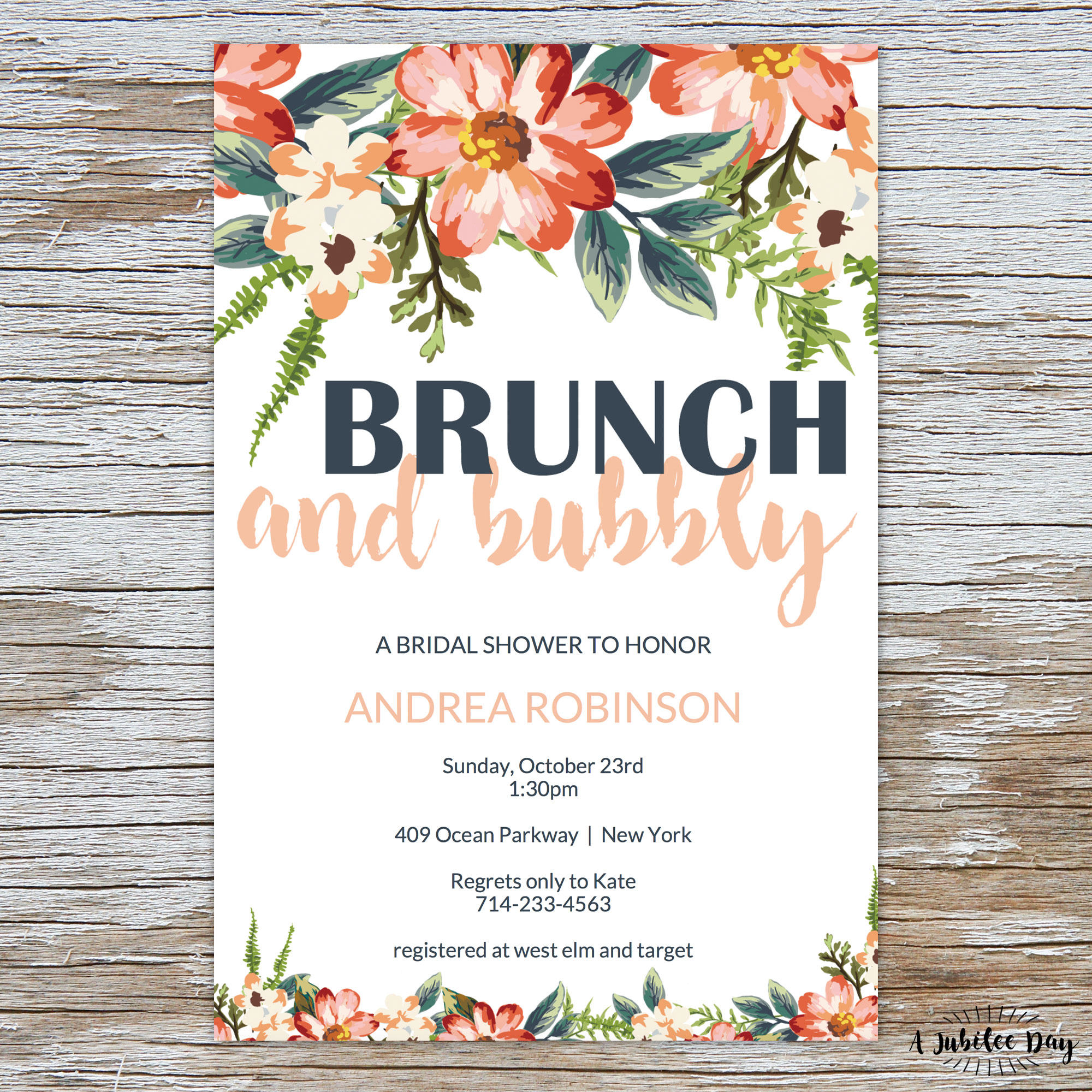 ec293d48fbe0 Brunch and Bubbly Bridal Shower Invitation - A Jubilee Day
