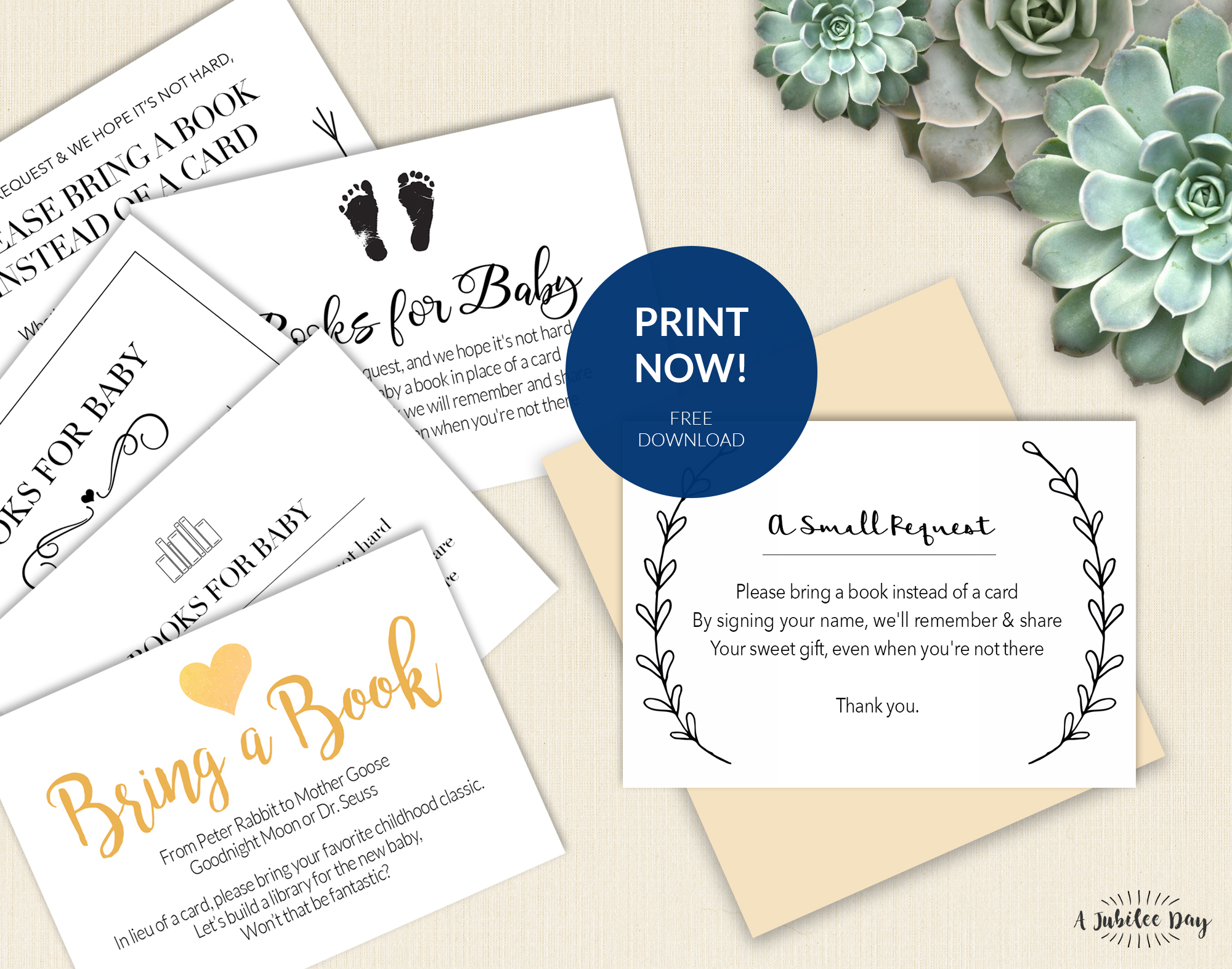 image regarding Free Printable Baby Registry Cards named Deliver A E-book In its place of Card (Totally free Printable!) - A Jubilee Working day