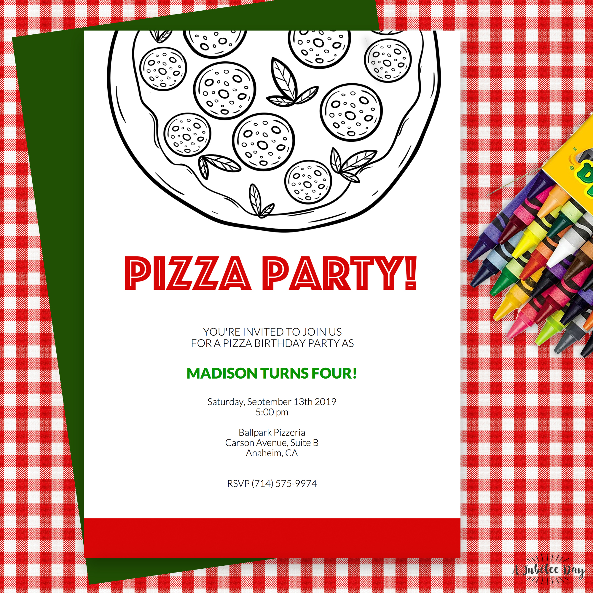 Pizza Party Invitation A Jubilee Day